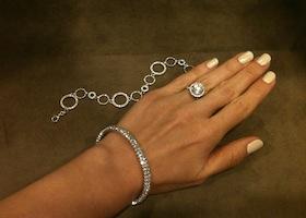 custom engagement ring on woman's hand