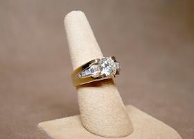custom wedding ring on display